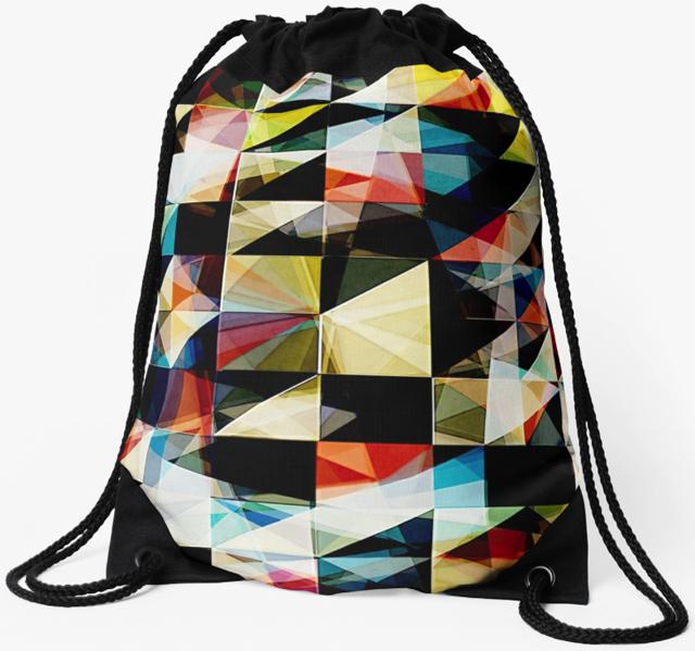 Grunge Geometric Shapes Drawstring Bag