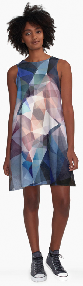 Textured Triangles Abstract A-line Dress