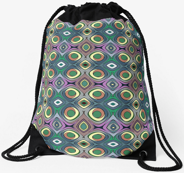 Colorful Shapes Pattern Drawstring Bag