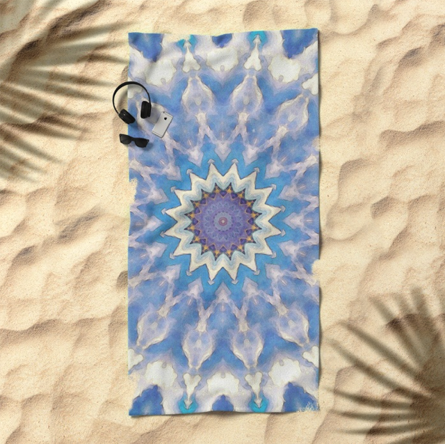 Textural Blue Star Beach Towel