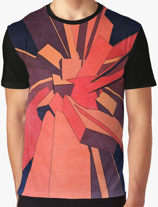 Vintage Orange Rectangles Graphic T-shirt