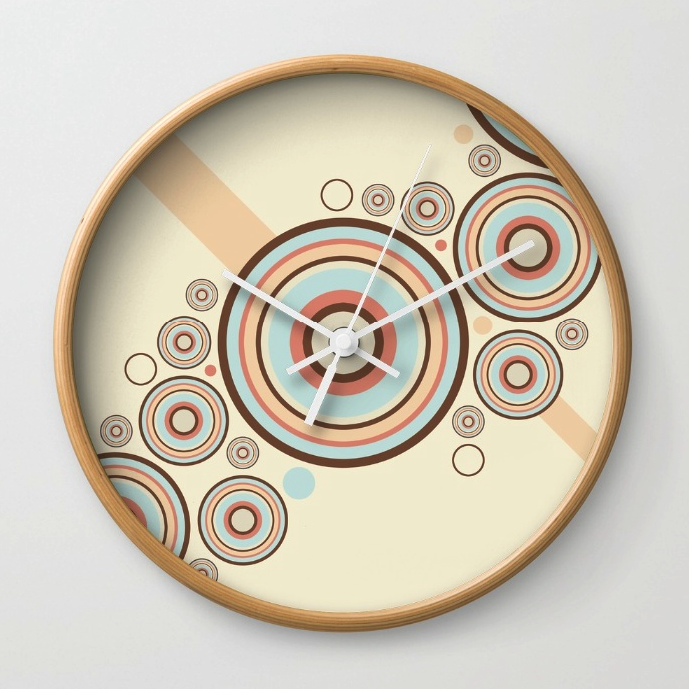 Colorful Retro Circles Wall Clock