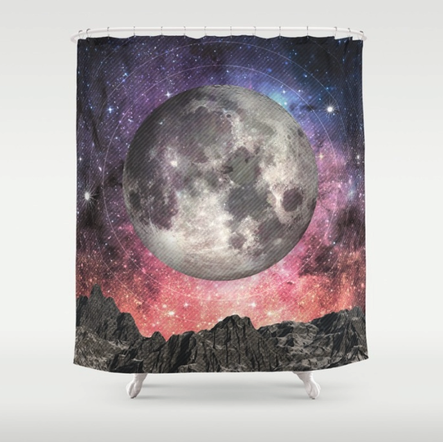 Sci Fi Full Moon Shower Curtain