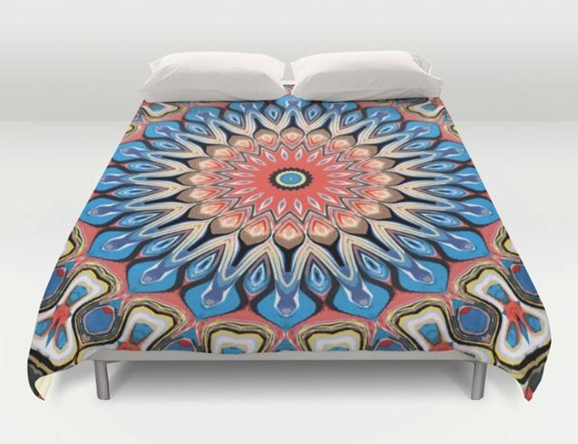 Abstract Mandala Flower Duvet Cover