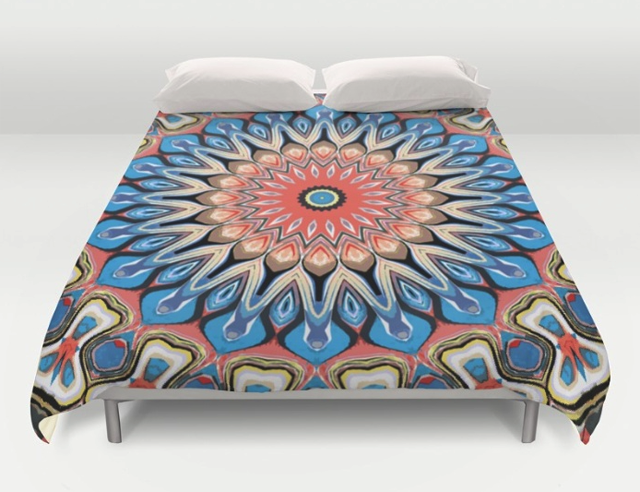 Abstract Mandala Flower Duvet Cover