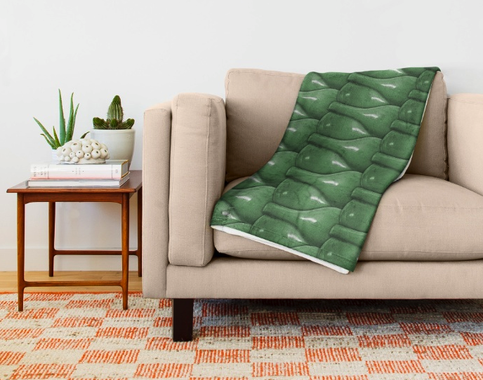 Glass Bottles Pattern Throw Blanket