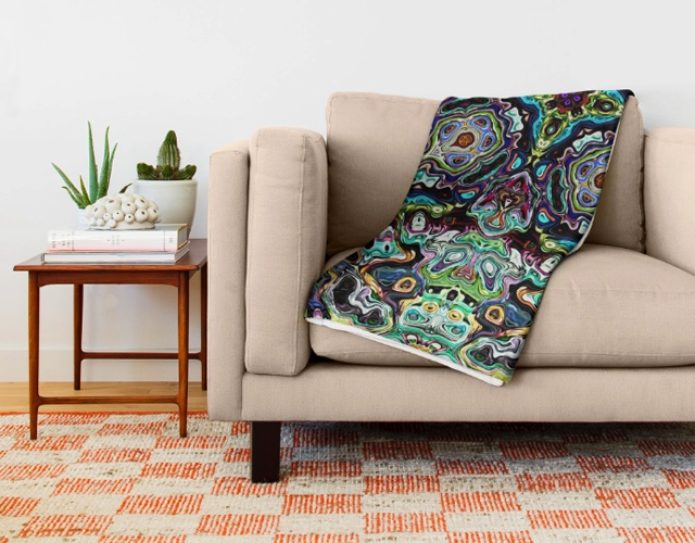 Colorful Abstract Pattern Throw Blanket