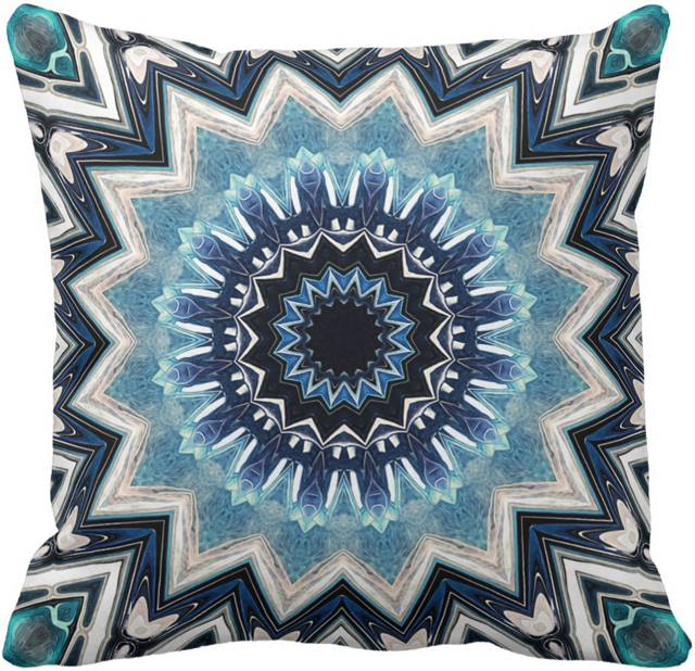 Pointed Blue Mandala Throw Pillow