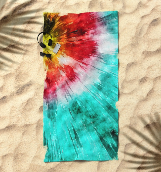 Colorful Tie Dye Beach Towel