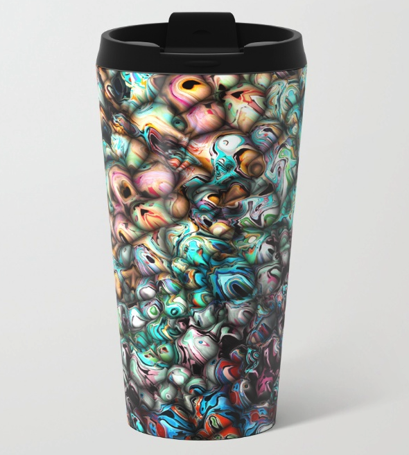 Abstract 3D Metal Travel Mug