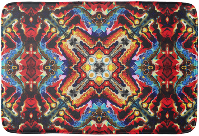 Colorful Tribal Motif Bathroom Mat