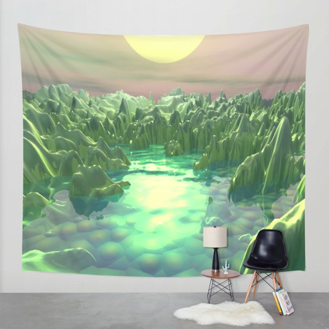 Fractal Green Planet Wall Tapestry