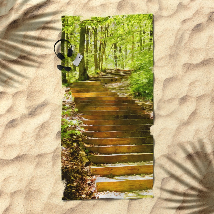 Steps Into The Forest Beach Towel
