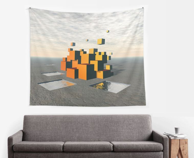 Surreal Floating Cubes Wall Tapestry
