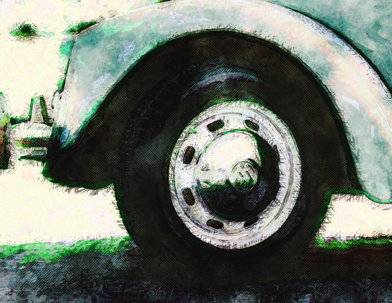 wheel, car, automobile, vehicle, front wheel, digital art, photography, grunge, digital painting, texture, bumper, still life