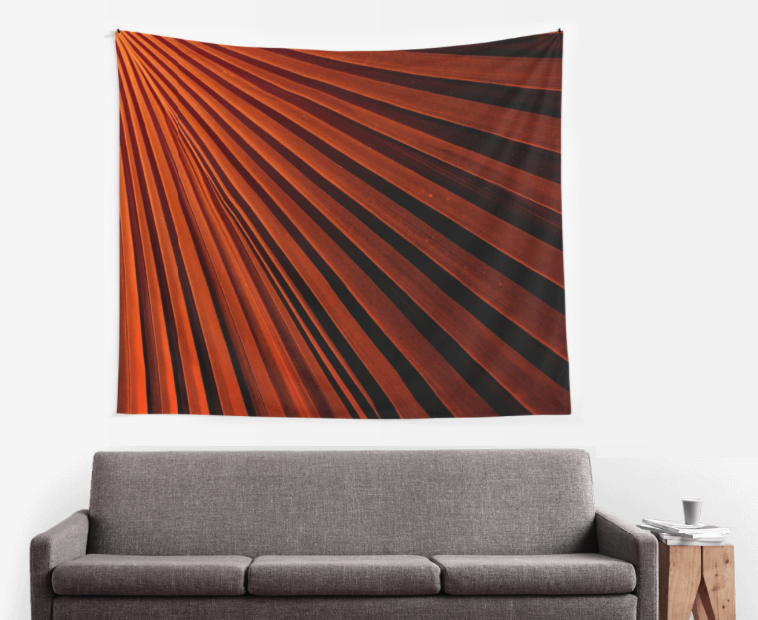 Orange Palm Frond Wall Tapestry