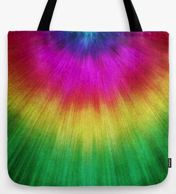 Colorful Starburst Tie Dye Tote Bag