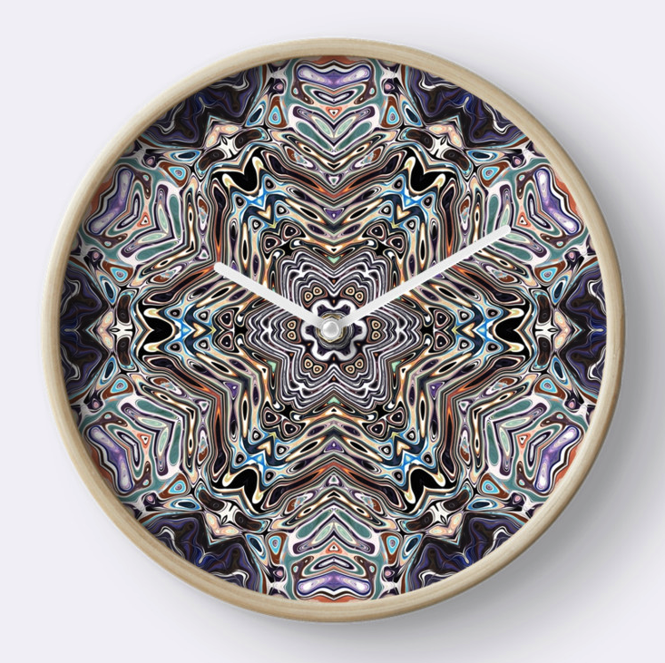 Colorful Kaleidoscopic Pattern Wall Clock