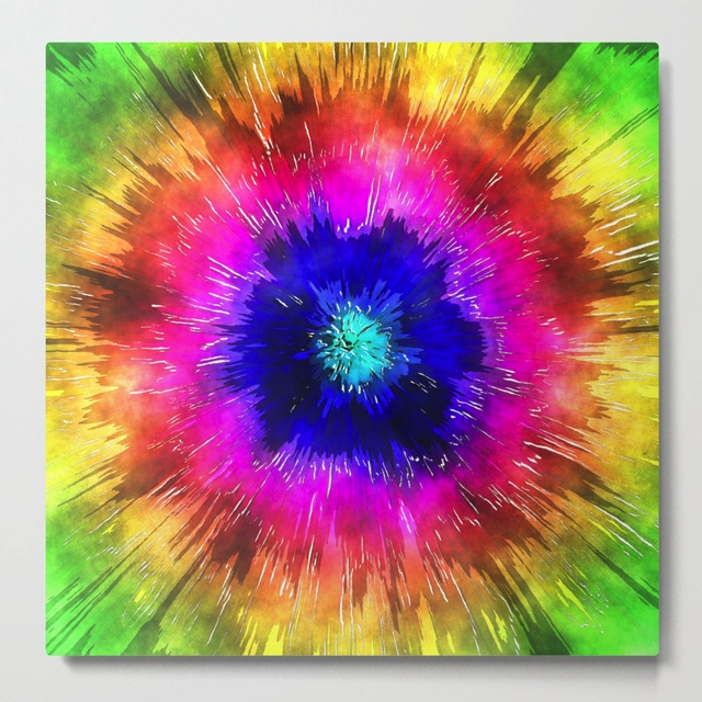 Starburst Tie Dye Watercolor Metal Print