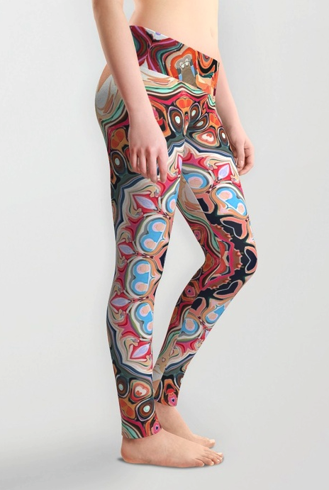 Textured Circles Abstract Leggings