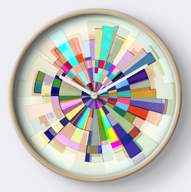 Abstract Color Wheel Wall Clock