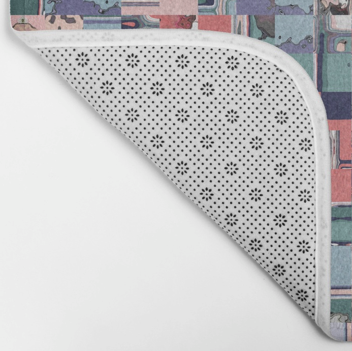 Colorful Geometric Mosaic Bath Mat