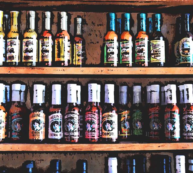 Bottles of Hot Sauce