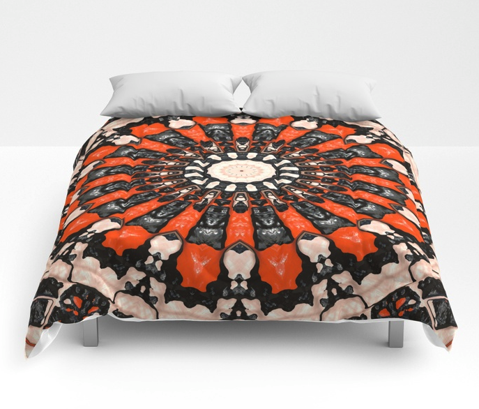 Abstract Orange And Black Comforter