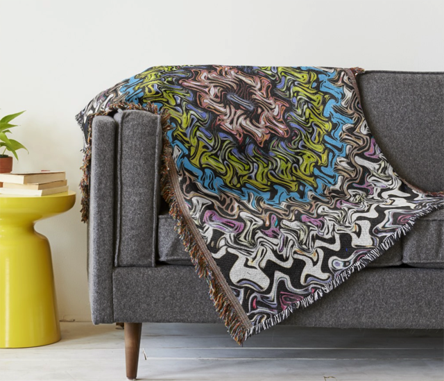 Colorful Decorative Abstract Throw Blanket