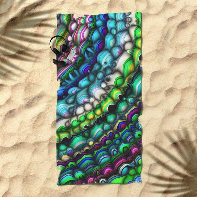 Curved Spectral Shapes Beach Towel