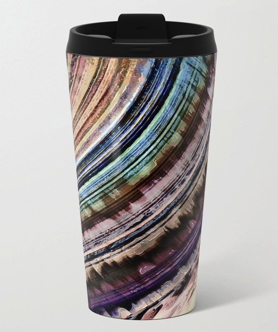 Textured Earth Tones Metal Travel Mug