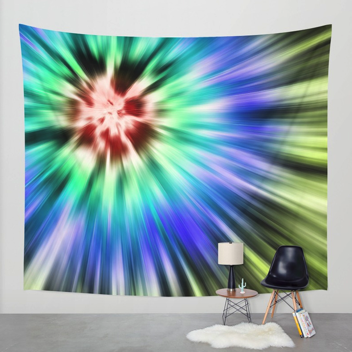 Colorful Starburst Tie Dye Wall Tapestry