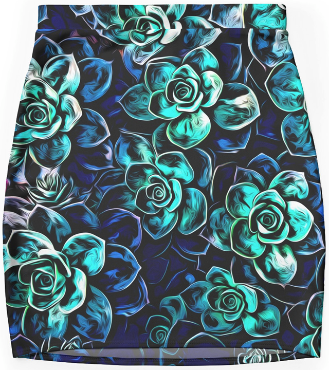 Blue And Turquoise Plants Mini Skirt