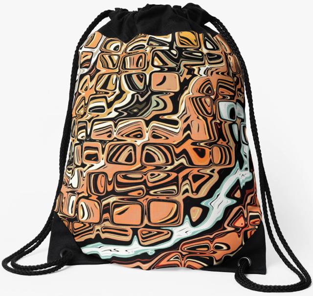 Abstract Orange Shapes Drawstring Bag