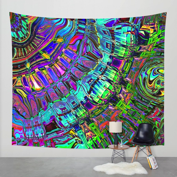 Abstract Spectrum of Shapes Wall Tapestry