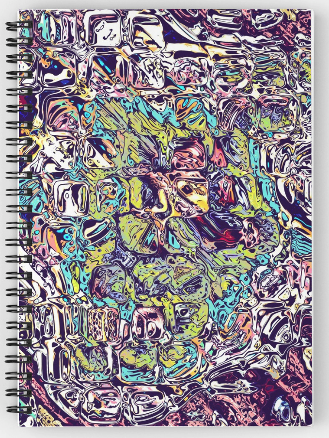 Colorful Chaotic Abstract Spiral Notebook