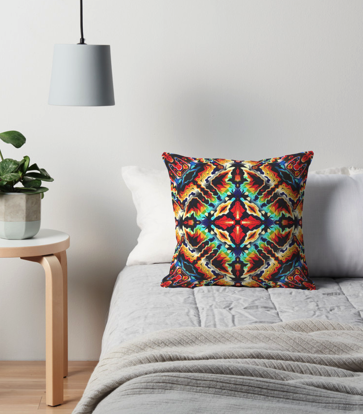 Tribal Geometric Layers Throw Pillow