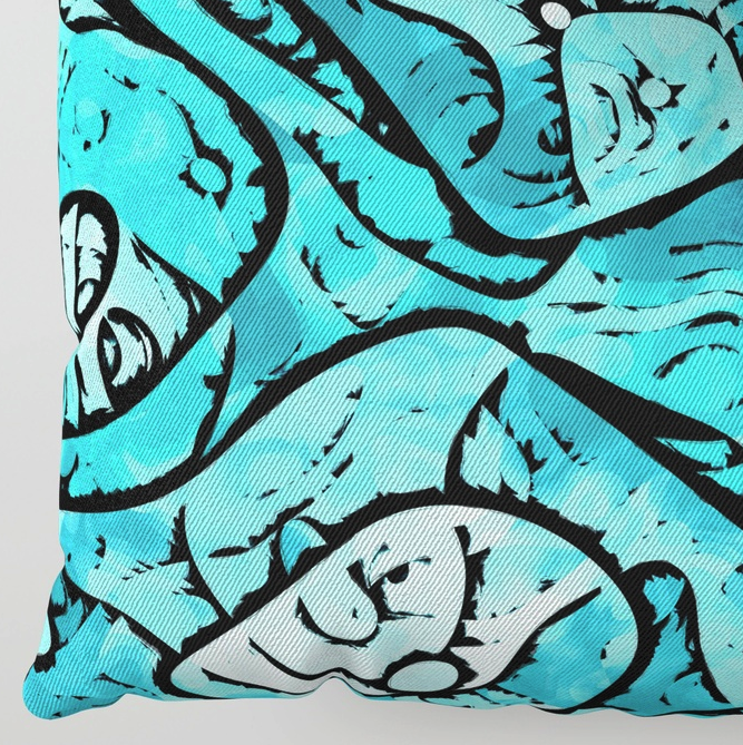 Abstract Blue Pattern Floor Pillow