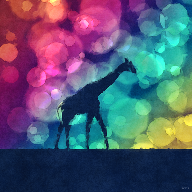 Pop Art Giraffe Silhouette