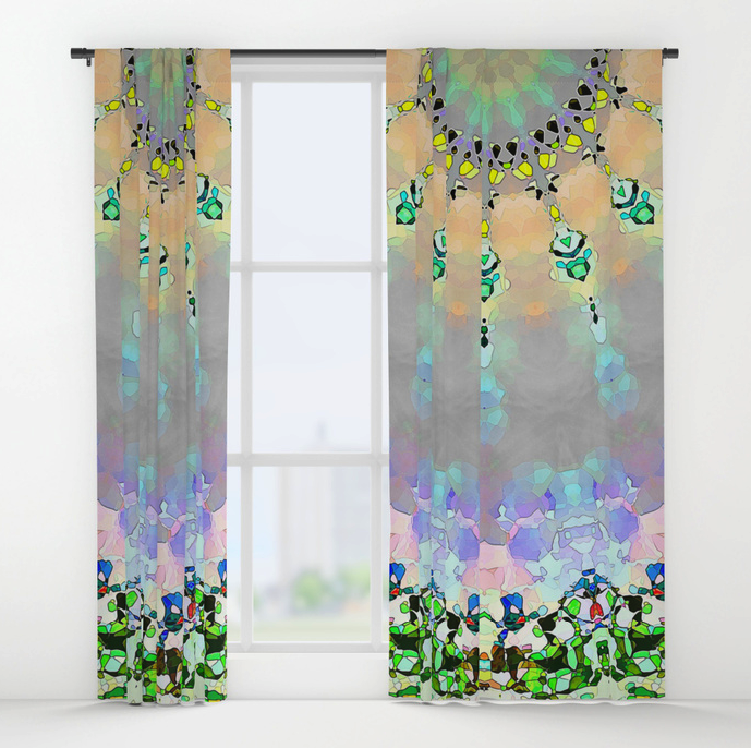 Abstract Sunshine Mosaic Window Curtains