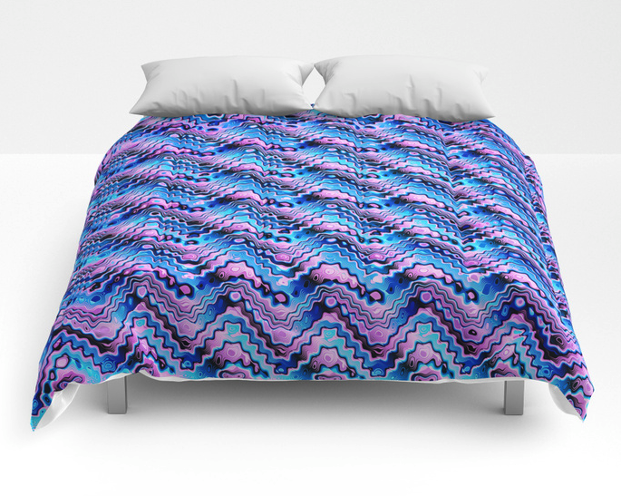 Abstract Blue And Purple Pattern Comforter