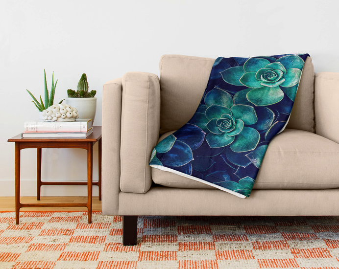 Blue And Green Succulents Throw Blanket