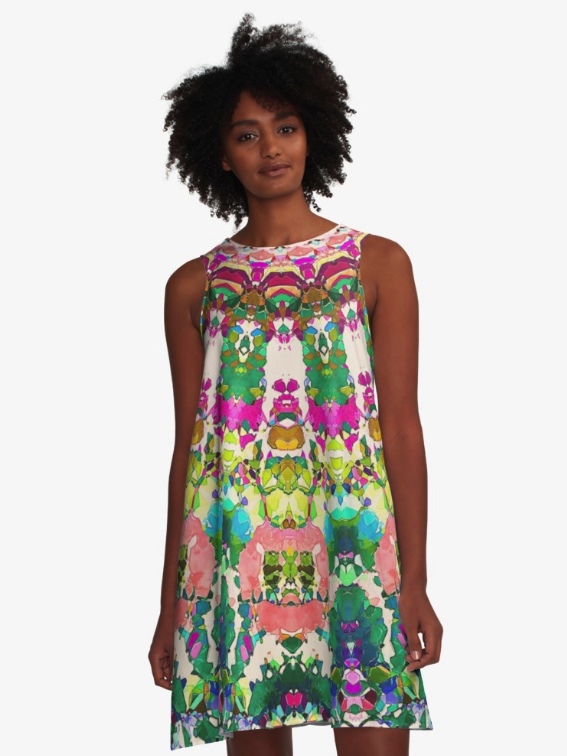 Abstract Sun Rays Mosaic A-line Dress