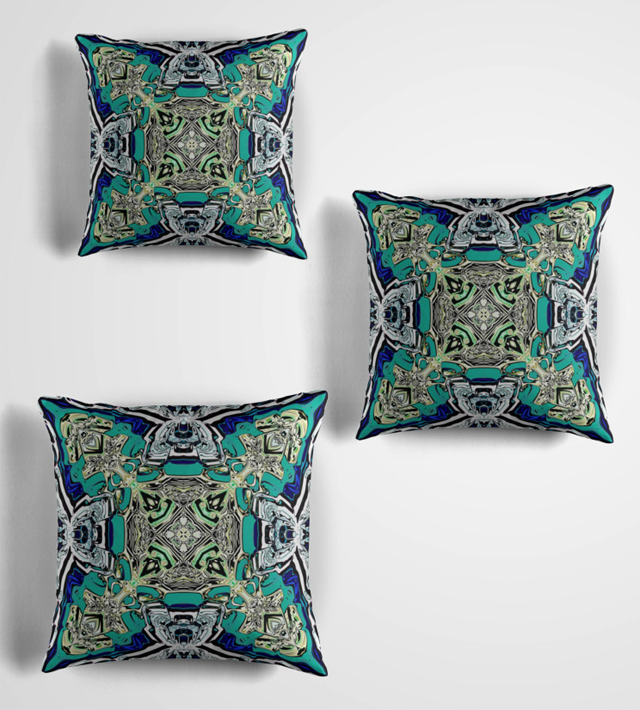 Decorative Abstract Turquoise Throw Pillow