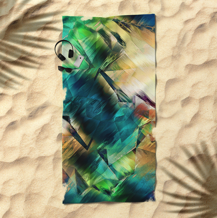 Abstract Geometric Textures Beach Towel