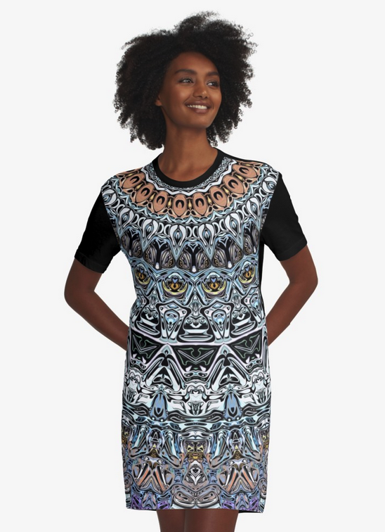 Intricate Pattern Graphic T-shirt Dress