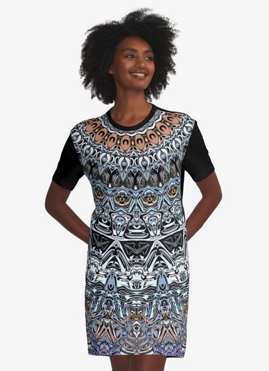 Intricate Pattern Graphic T-shirt Dress