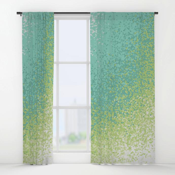 Geometric Turquoise Window Curtains