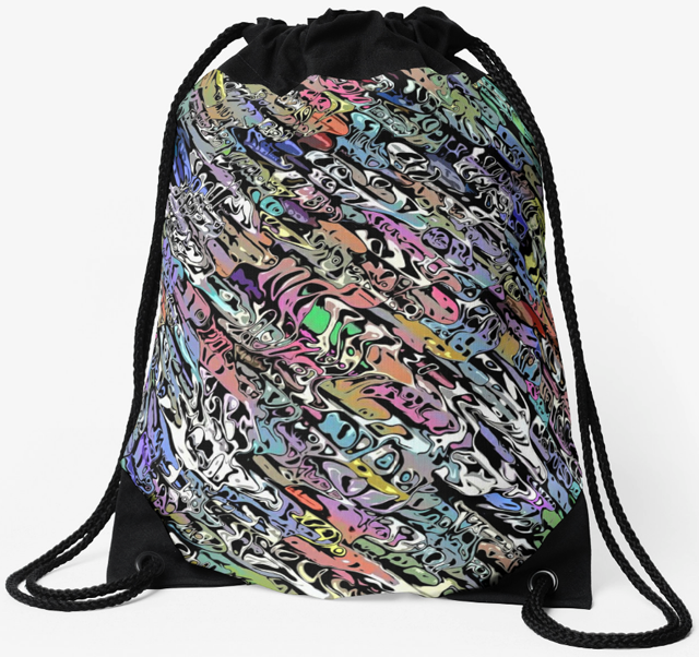 Chaotic Colorful Drawstring Bag