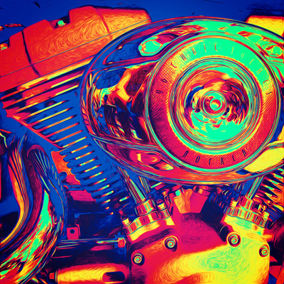 Colorful Motorcycle Engine